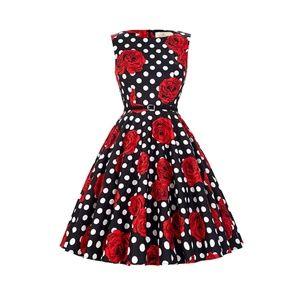 Dresses & Skirts - Floral-35 Boatneck Vintage Tea Belted Dress